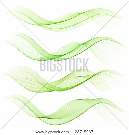 Abstract green color wave design element. Set Green wave
