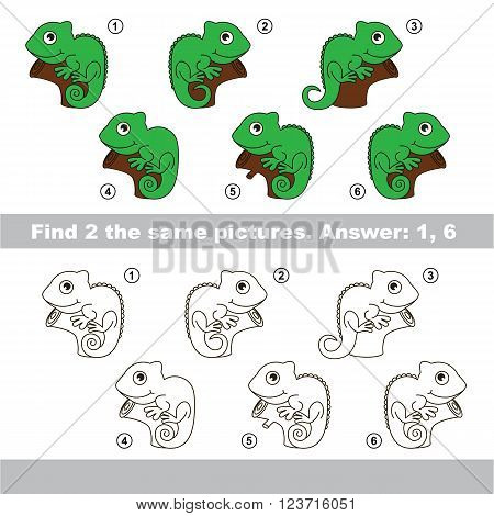 The design difference.  Vector visual game for children. Task and answer. Find two similar Iguanas
