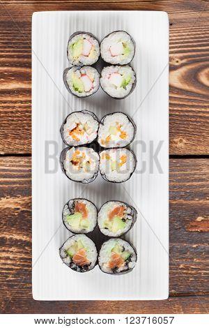 Maki sushi set on a white plate. Shallow dof