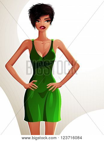 Full-length portrait of a gorgeous brunette sexy lady wearing a bright summer dress colorful drawing. Vector illustration of a stylish mulatto lady holding her hands on a waist.