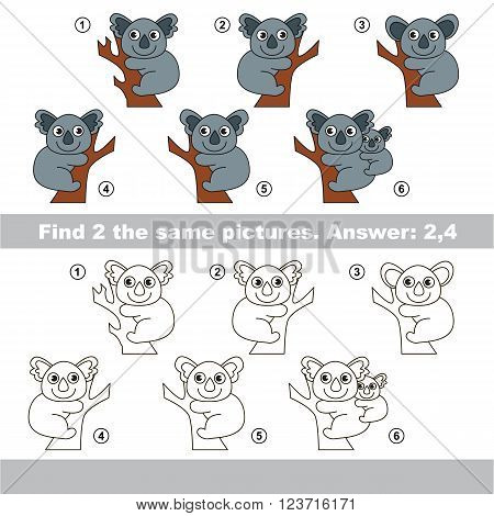 The design difference.  Vector visual game for children. Task and answer. Find two similar Koalas