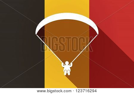 Long Shadow Belgium Flag With A Paraglider