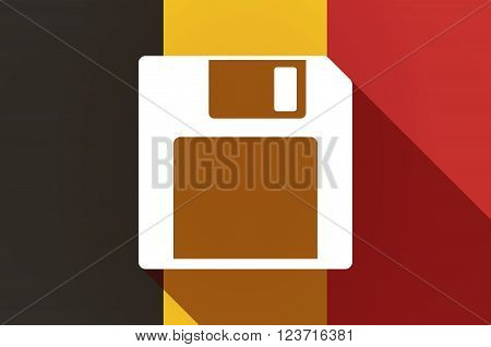 Long Shadow Belgium Flag With A Floppy Disk