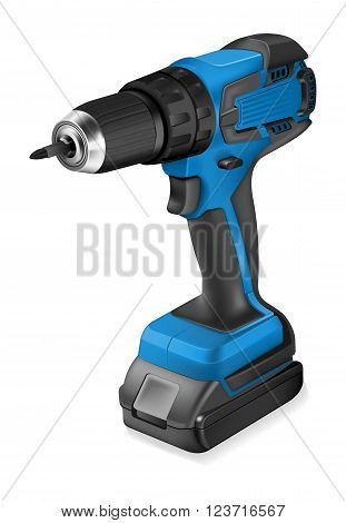 Realistic illustration of cordless drill on white background