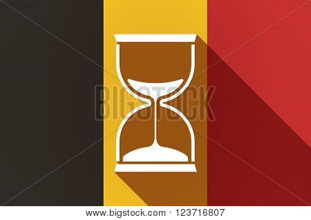 Long Shadow Belgium Flag With A Sand Clock