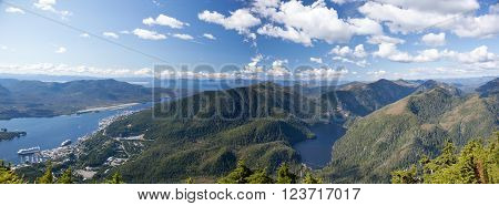 The panoramic view from the top of Deer Mount of Ketchikan town surrounded by mountains (Alaska).