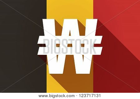 Long Shadow Belgium Flag With A Won Currency Sign