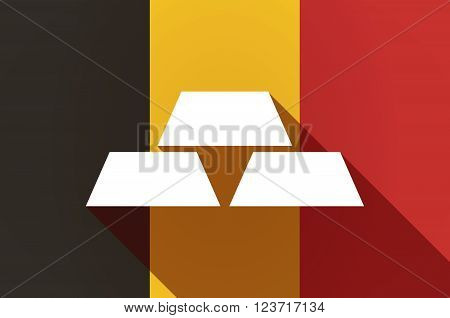 Long Shadow Belgium Flag With Three Gold Bullions