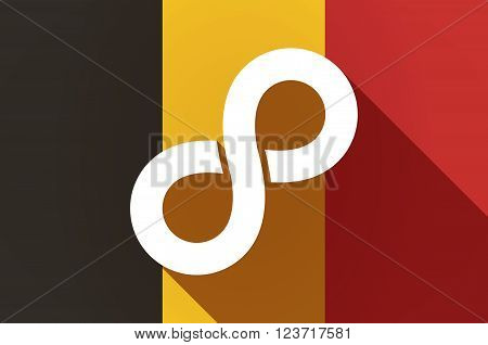 Long Shadow Belgium Flag With An Infinite Sign