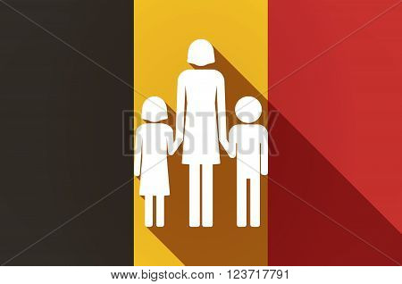Long Shadow Belgium Flag With A Female Single Parent Family Pictogram