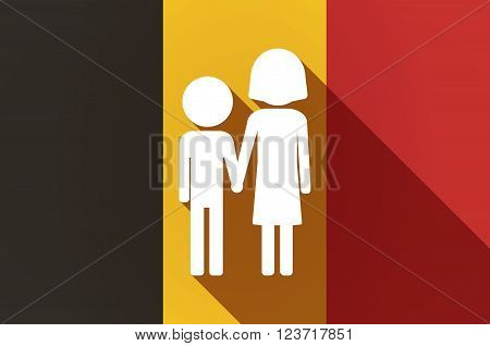Long Shadow Belgium Flag With A Childhood Pictogram