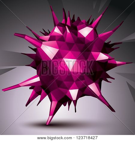 Geometric abstract 3D complicated object colorful asymmetric element isolated.