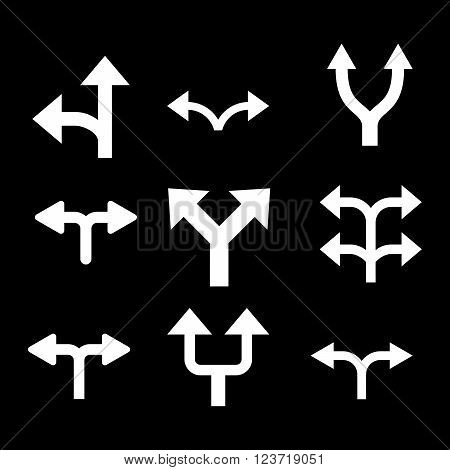Divide Arrows vector icon set. Collection style is white flat symbols on a black background. Divide Arrows icons.