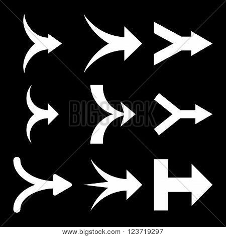 Join Arrows Right vector icon set. Collection style is white flat symbols on a black background. Join Arrows Right icons.
