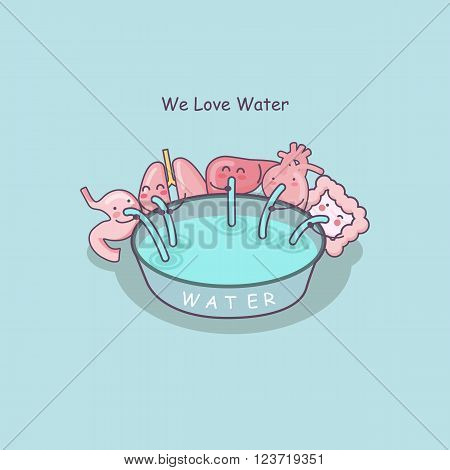 cute cartoon organs include stomachlungliverheart and intestine love water great for health care concept