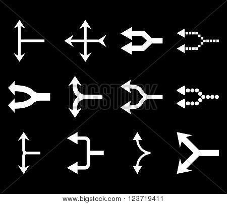 Junction Arrows Left vector icon set. Collection style is white flat symbols on a black background. Junction Arrows Left icons.