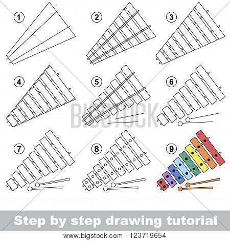 Drawing tutorial for children. How to draw the funny Xylophone