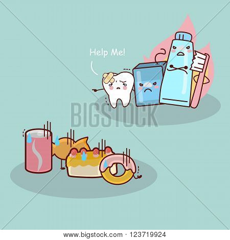 cute cartoon toothflosstoothbrush and toothpaste against candy great for health dental care concept