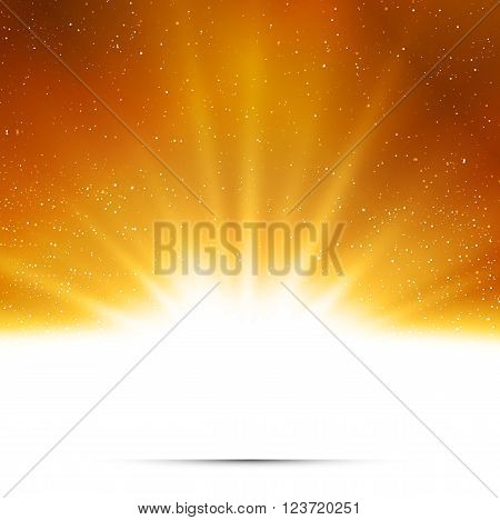 Abstract background. Magic light with gold burst. Gold light