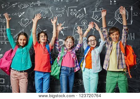Ecstatic schoolchildren