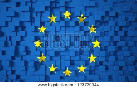 3d europe flag geometric background
