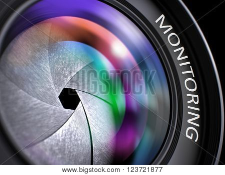 Monitoring on Front Glass of Camera Lens. Colorful Lens Flares. Monitoring Concept. Closeup Photographic Lens with Reflection. Black Background. 3D.