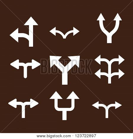Divide Arrows vector icon set. Collection style is white flat symbols on a brown background. Divide Arrows icons.