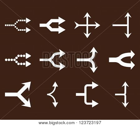 Junction Arrows Right vector icon set. Collection style is white flat symbols on a brown background. Junction Arrows Right icons.