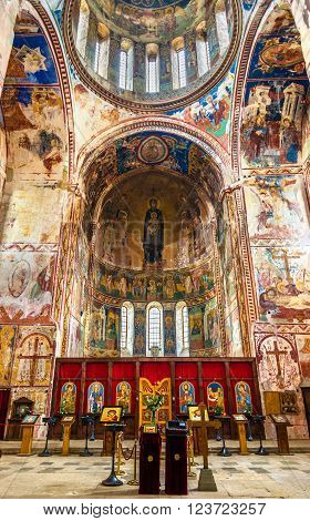 Gelati, Georgia - January 11, 2016: Interior of Gelati Monastery near Kutaisi. It is a medieval complex recognized by UNESCO