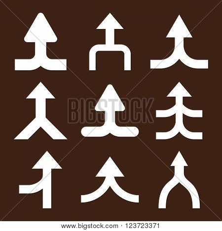 Merge Arrows Up vector icon set. Collection style is white flat symbols on a brown background. Merge Arrows Up icons.