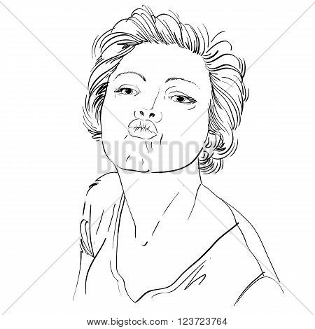 Artistic Hand-drawn Image, Black And White Portrait Of Delicate Stylish Tender Girl Giving A Kiss. E
