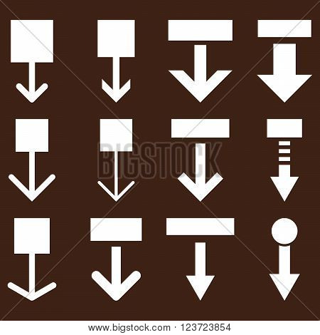 Pull Down vector icon set. Collection style is white flat symbols on a brown background. Pull Down icons.
