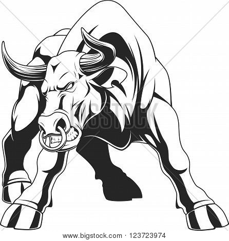 Vector illustration of a ferocious bull on a white backgroun sketch