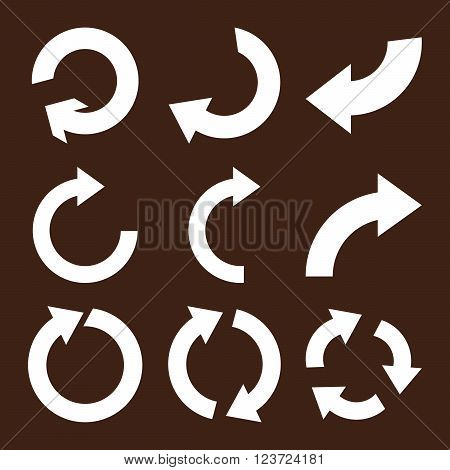Rotate Clockwise vector icon set. Collection style is white flat symbols on a brown background. Rotate Clockwise icons.