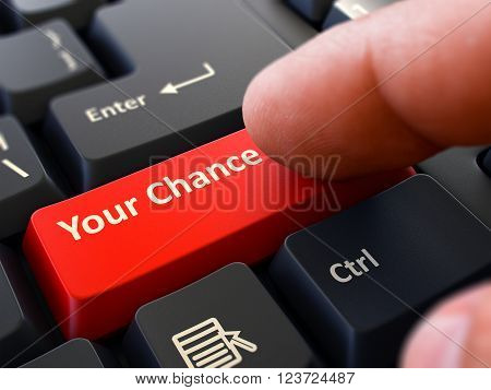 Your Chance Red Button - Finger Pushing Button of Black Computer Keyboard. Blurred Background. Closeup View. 3D Render.