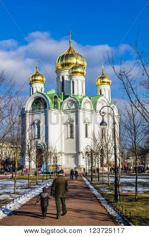 TSARSKOYE SELO RUSSIA - MARCH 12: Catherine Cathedral at March 12 2016 in Tsarskoye Selo (Pushkin) Russia