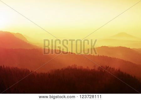 Dreamy Fogy Landscape, Gentle Orange Misty Sunrise