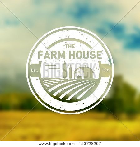 Farm House concept logo. Vintage logo template with farm landscape on blurred background. Grunge label for natural farm products. White logotype in flat style. Vector illustration.