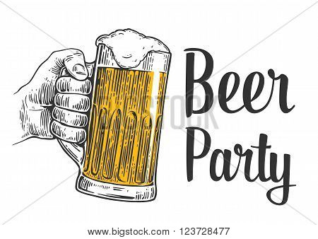 Male hand holding a beer mug. Vintage vector engraving illustration for web poster invitation to beer party - time to drink. Isolated on white background