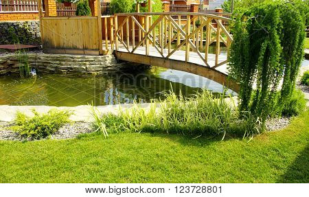 Garden with a lake and waterfall