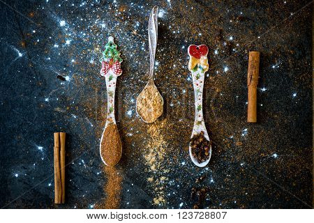 Spices For Christmas Gingerbread Cookies In Spoons