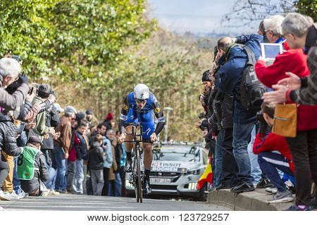Conflans-Sainte-Honorine,France-March 62016: The Belgian cyclist Tom Boonen of Etixx-Quick Step Team riding during the prologue stage of Paris-Nice 2016.