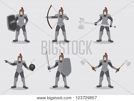 Set of six vector cartoon illustration of ancient knight warrior wearing armor and holding different weapons for battle isolated on plain background.