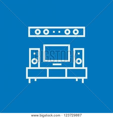 TV flat screen and home theater line icon.