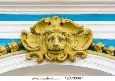 Closeup view on Lion head exterior detail of Catharine Palace in Tsarskoye Selo (Pushkin) Russia