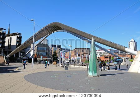 COVENTRY, UK - JUNE 4, 2015 - View of the Whittle arch in Millennium Place Coventry West Midlands England UK Western Europe, June 4, 2008.