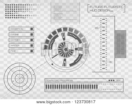 Abstract future, concept vector futuristic virtual graphic touch user interface HUD. For web, site, mobile applications isolated on black background, techno, online design, business, gui, ui