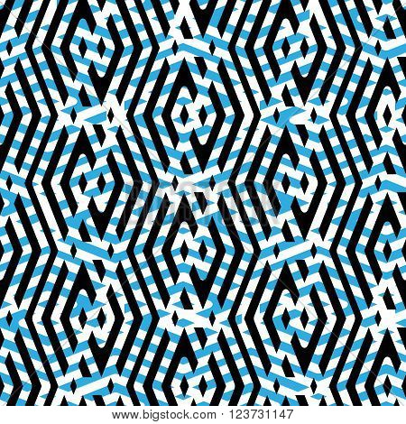 Geometric lined seamless pattern colorful vector endless background. Symmetric decorative motif texture with intertwine rhombs created from black lines. Blue layered ornate covering best for web and graphic design.