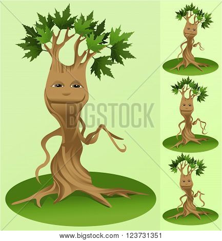 Vector illustration of funny vector tree mascot
