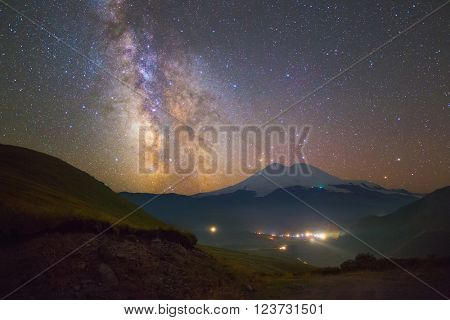 Bright Milky way and stars over Mount Elbrus